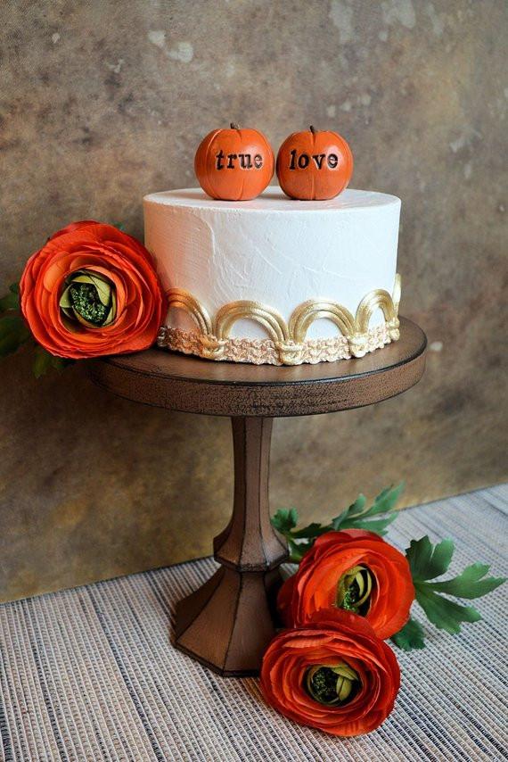 Pumpkin Wedding Cake Toppers  Pumpkin wedding cake topper orange true love by SkyeArt