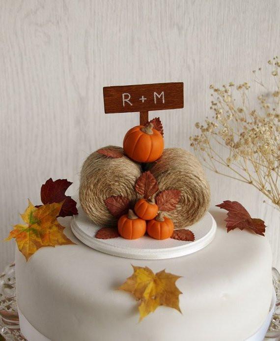 Pumpkin Wedding Cake Toppers  Rustic Pumpkin Hay Bales Cake Topper Fall Wedding Cake