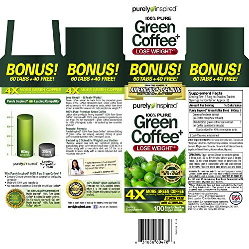 Purely Inspired Organic Greens  Purely Inspired Green Coffee Bean Weight Loss Supplement