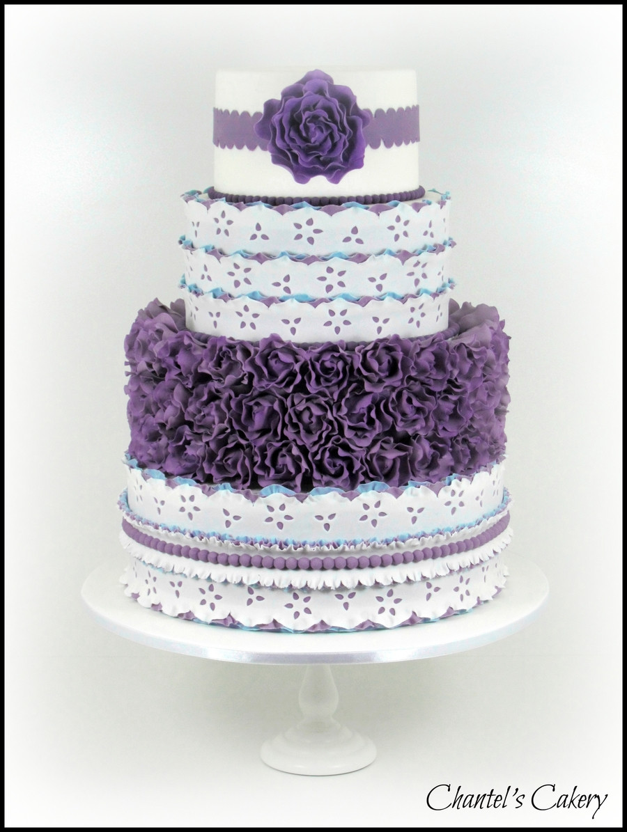 Purple And Blue Wedding Cakes  Purple And Blue Wedding Cake CakeCentral