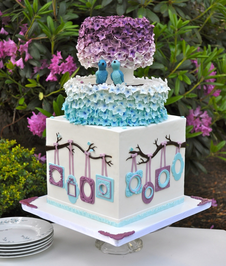 Purple And Blue Wedding Cakes  Blue And Purple Wedding Cake CakeCentral