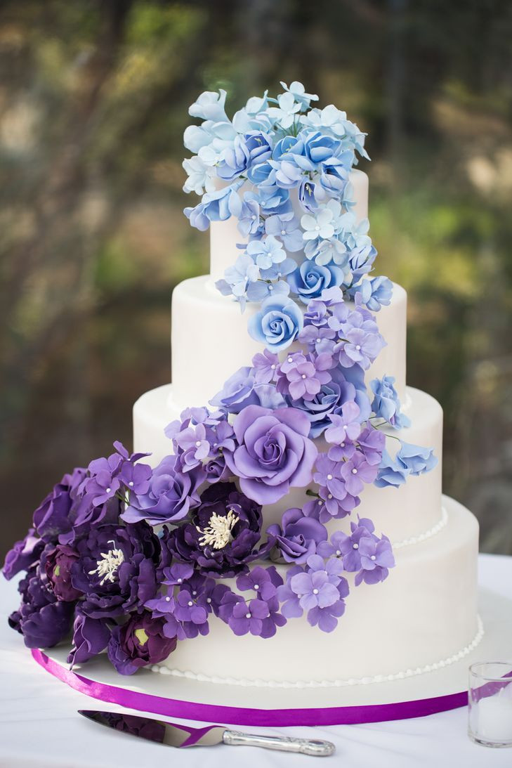 Purple And Blue Wedding Cakes  Ombre Blue and Purple Wedding Cake
