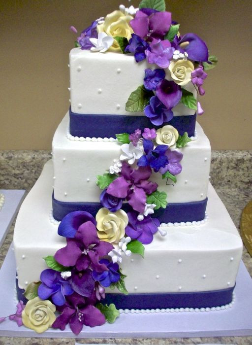 Purple And Blue Wedding Cakes  Royal blue and purple wedding