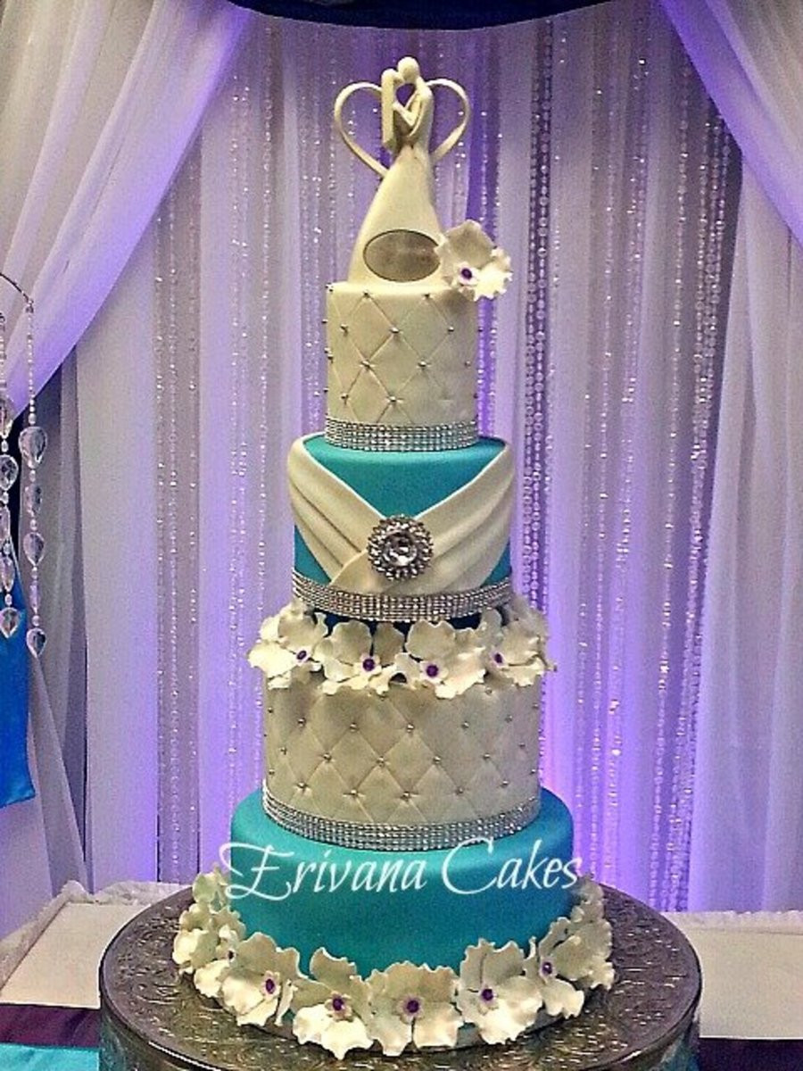 Purple And Blue Wedding Cakes  Tiffany Blue And Purple Wedding Cake CakeCentral