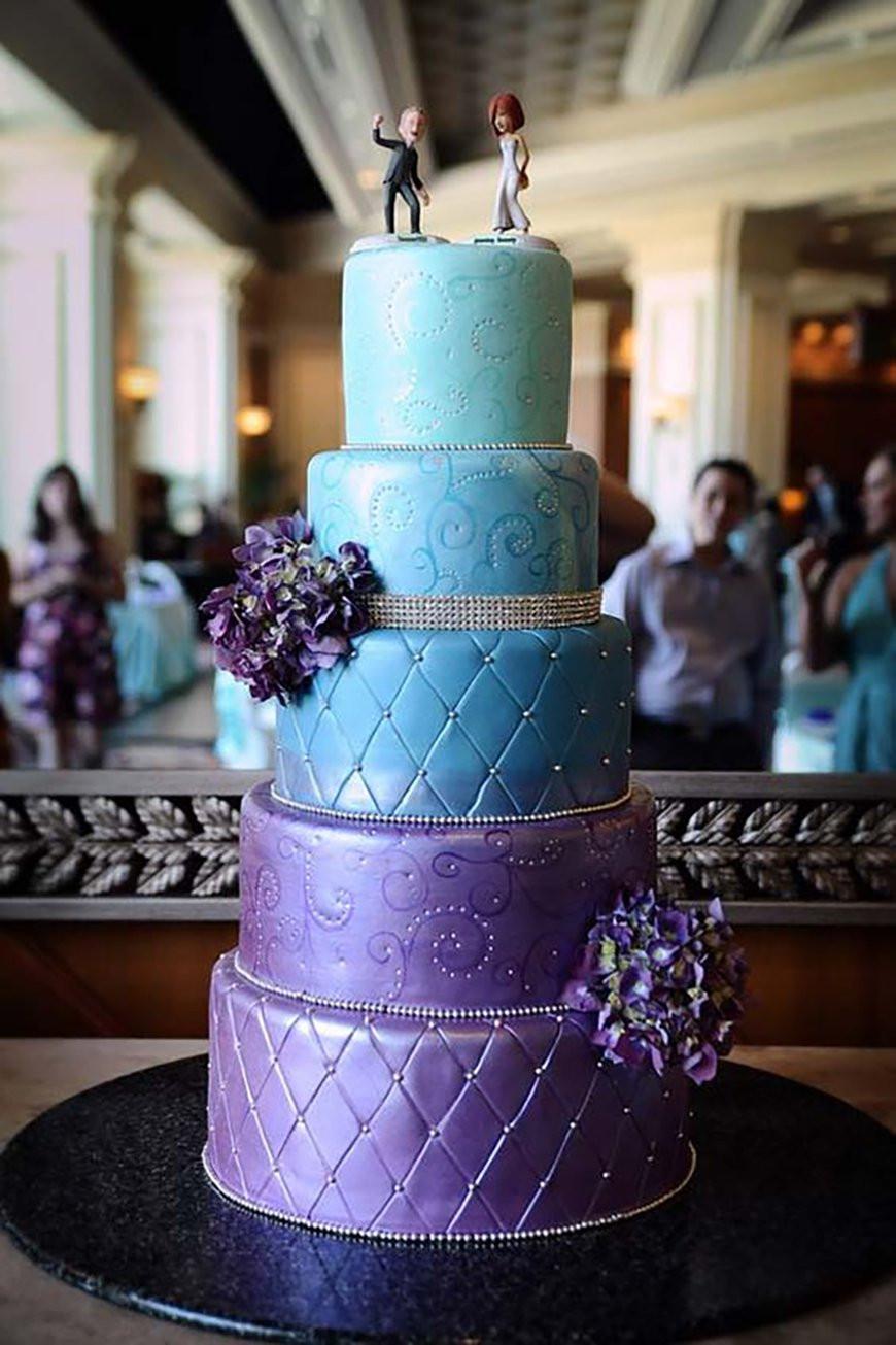 Purple And Blue Wedding Cakes  Blue and Purple Colour Scheme Wedding Ideas by Colour