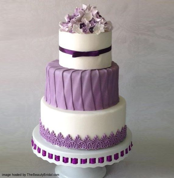 Purple And Blue Wedding Cakes  Beautiful purple wedding cakes with floral details