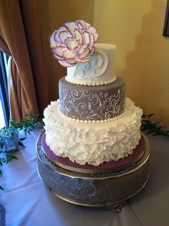 Purple And Grey Wedding Cakes  A wedding cake with purple and grey cake by