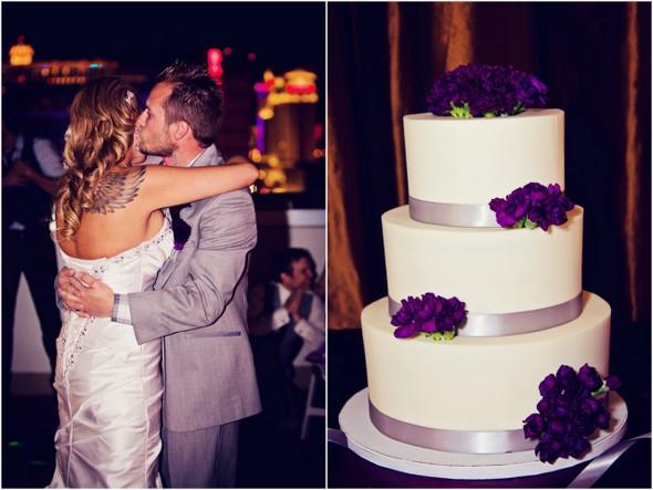 Purple And Grey Wedding Cakes  Rooftop Wedding in Las Vegas from Moxie Studio