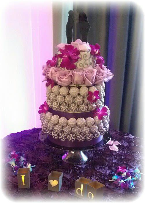 Purple And Grey Wedding Cakes  Gray and Purple Hombre Cake Bite Wedding Cake w Cutting