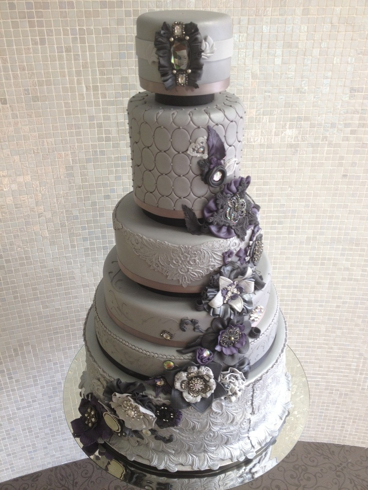 Purple And Grey Wedding Cakes  Grey and purple vintage wedding cake