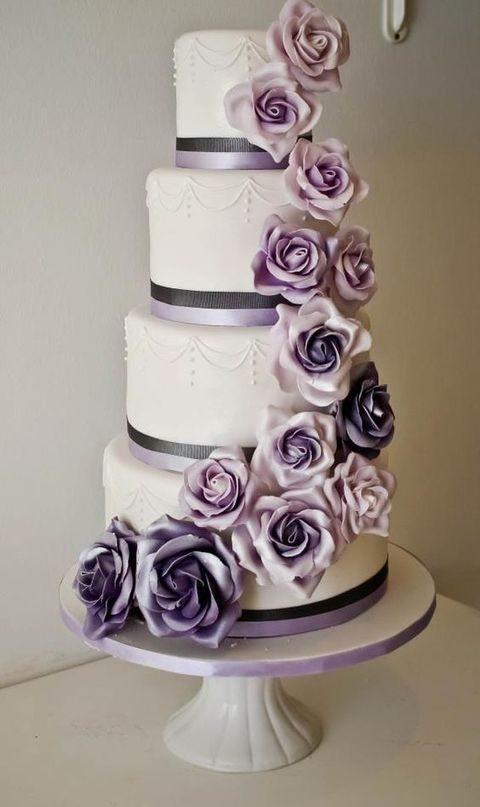 Purple And Grey Wedding Cakes  40 Grey And Lavender Wedding Ideas