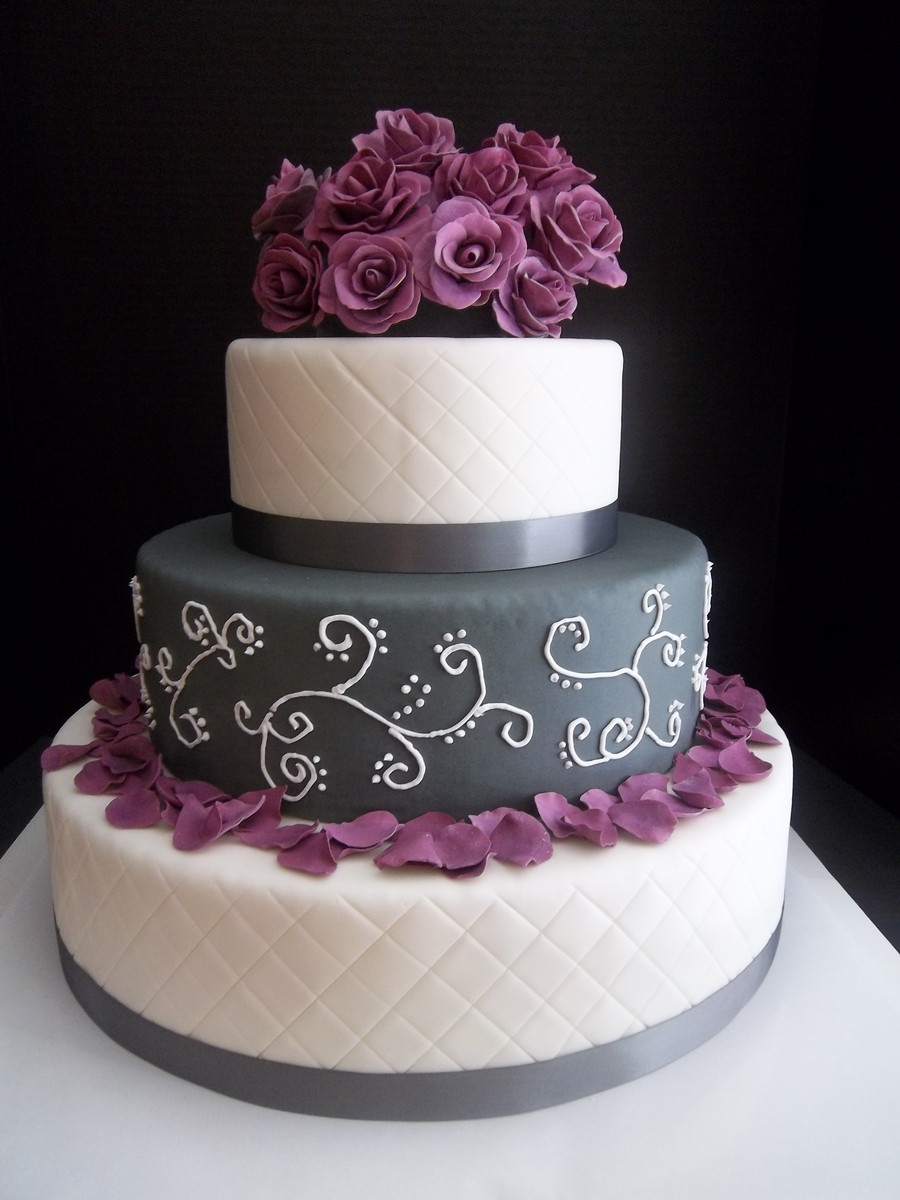 Purple And Grey Wedding Cakes  Purple And Grey Quilted Rose Wedding Cake CakeCentral