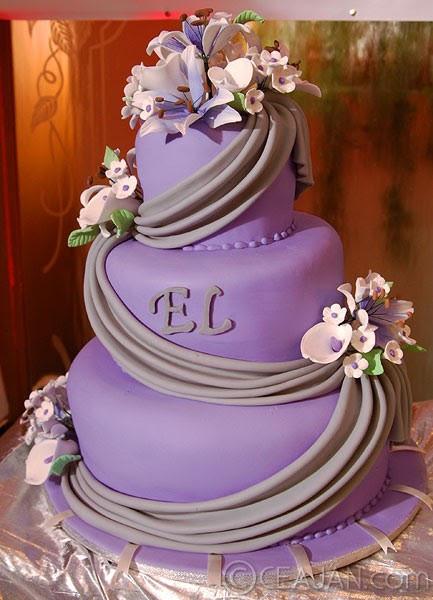 Purple And Grey Wedding Cakes  Wedding Book Purple Fondant Wedding Cake