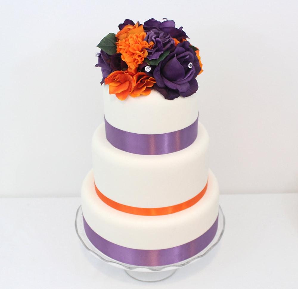 Purple And Orange Wedding Cakes  Halloween Inspired Wedding Cake Topper Orange Purple Rose