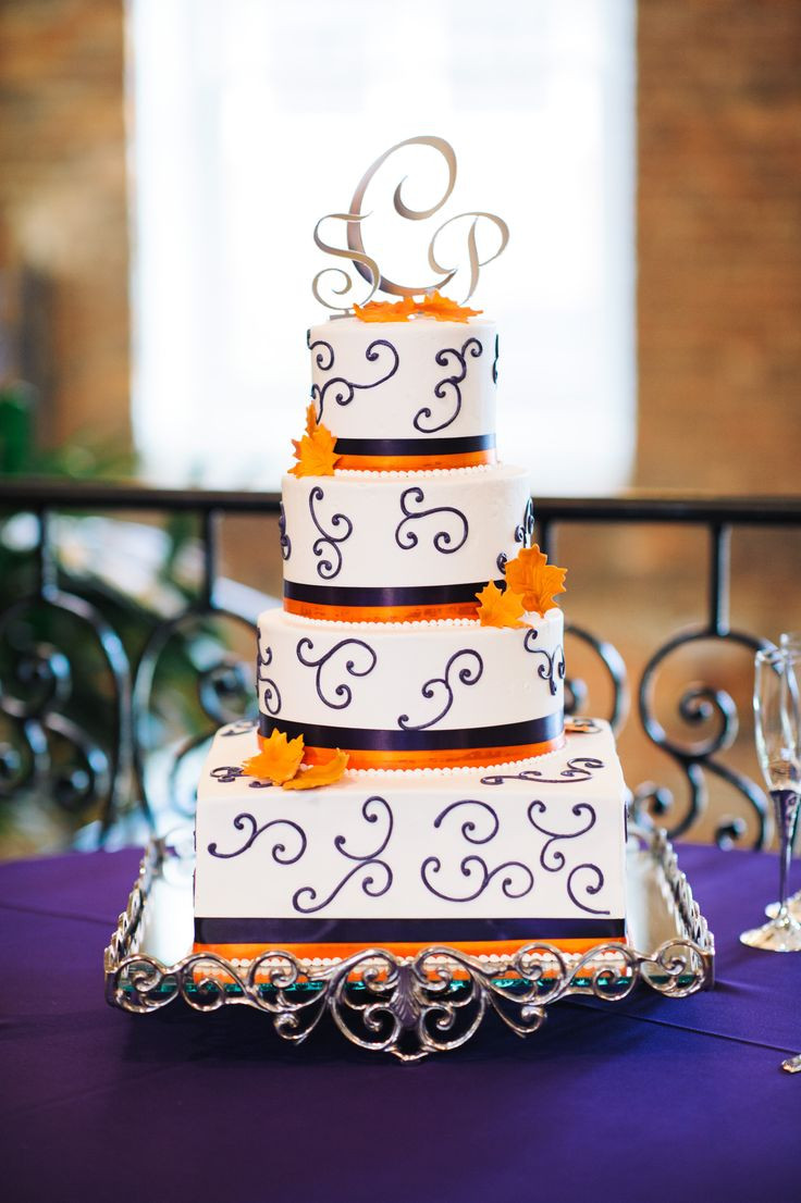 Purple And Orange Wedding Cakes  Orange and purple wedding cakes idea in 2017