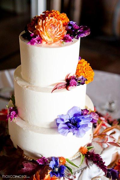 Purple And Orange Wedding Cakes  Orange Purple Fall Round Wedding Cakes s &