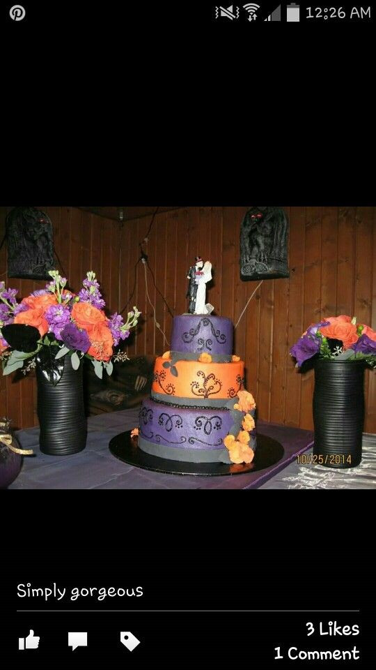 Purple And Orange Wedding Cakes  1000 images about Purple & Orange Halloween Wedding on