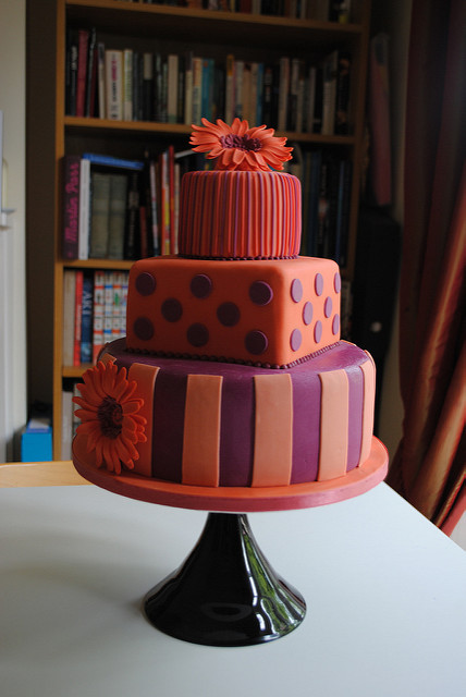 Purple And Orange Wedding Cakes  Orange and purple wedding cake