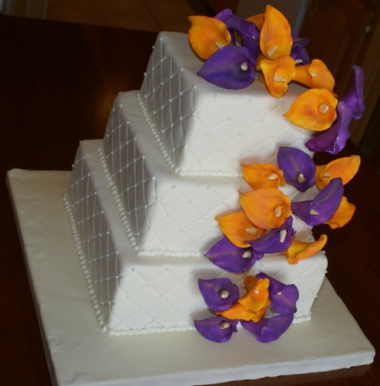 Purple And Orange Wedding Cakes  orange and purple wedding cakes