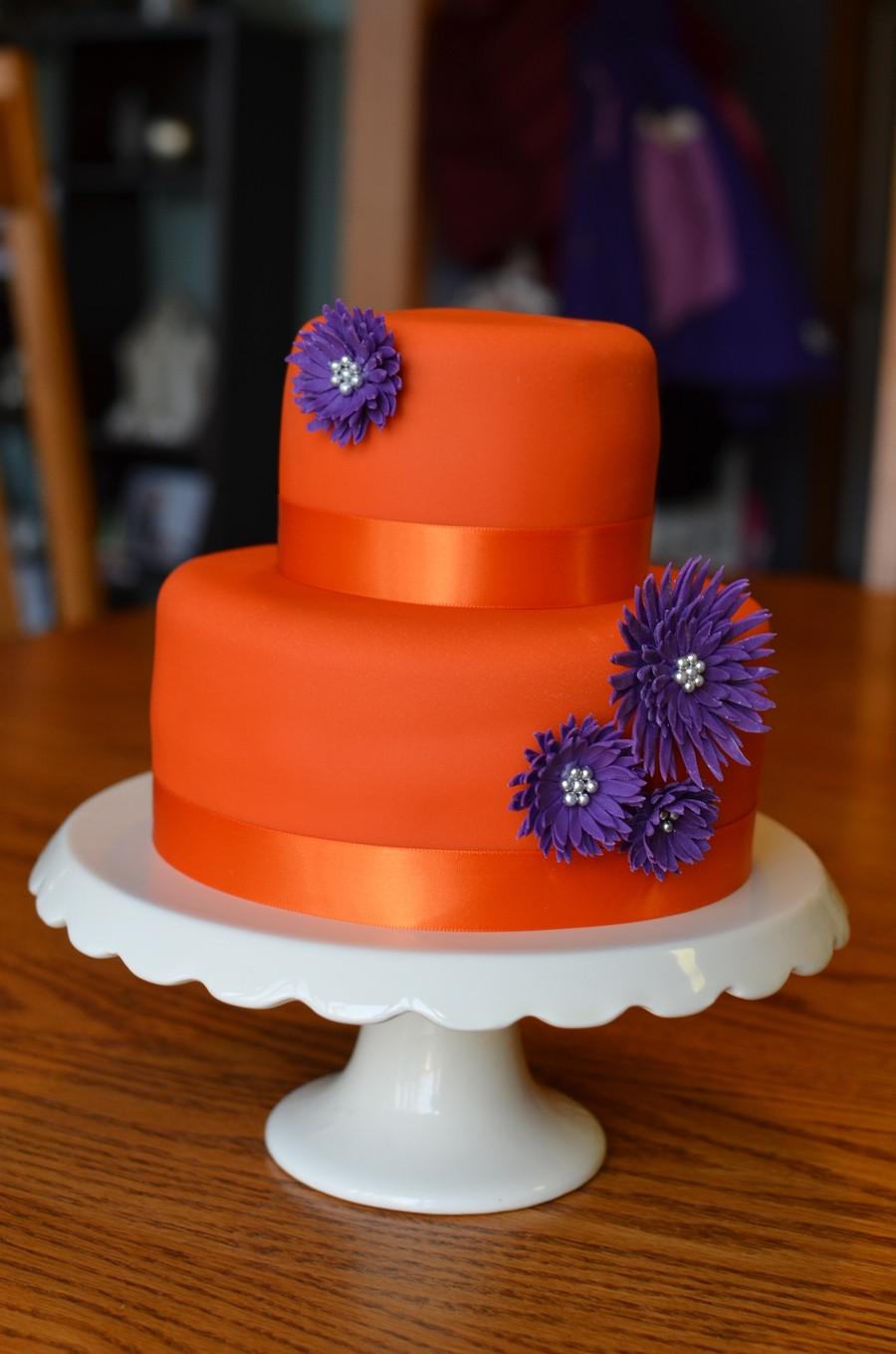 Purple And Orange Wedding Cakes  Orange With Purple Daisies CakeCentral