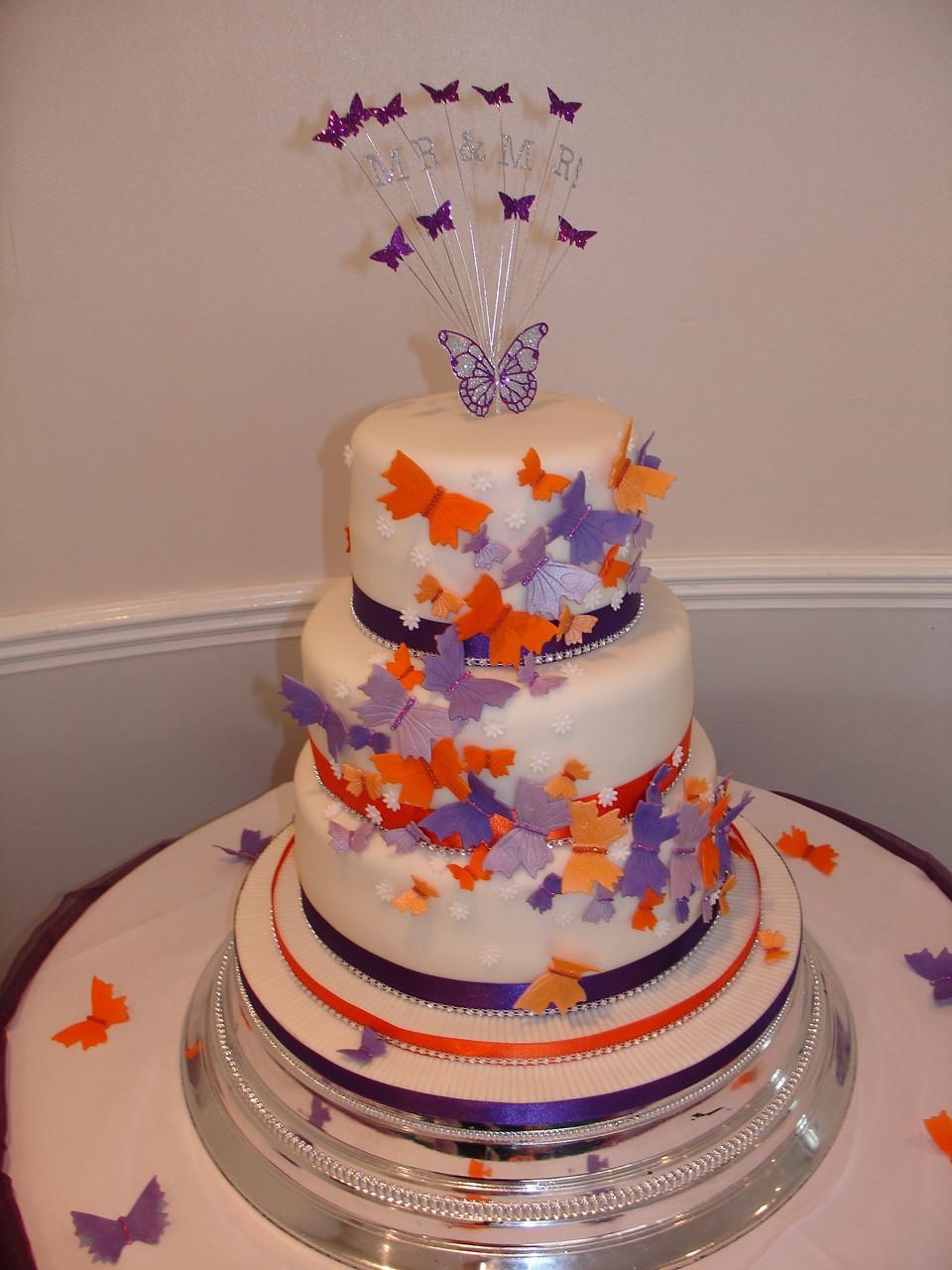 Purple And Orange Wedding Cakes  Purple & Orange Butterflies Wedding Cake CakeCentral