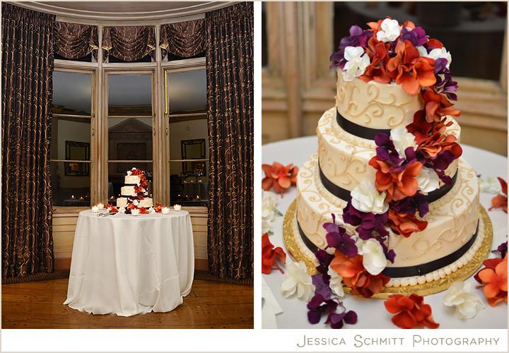 Purple And Orange Wedding Cakes  wedding cake purple orange flowers