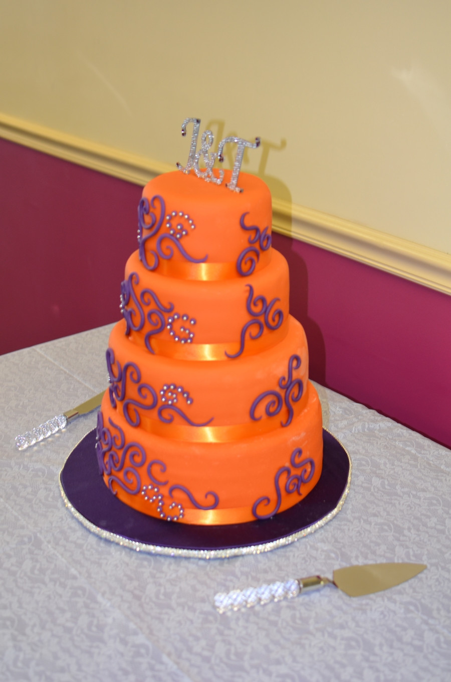 Purple And Orange Wedding Cakes  Orange And Purple Wedding Cake CakeCentral