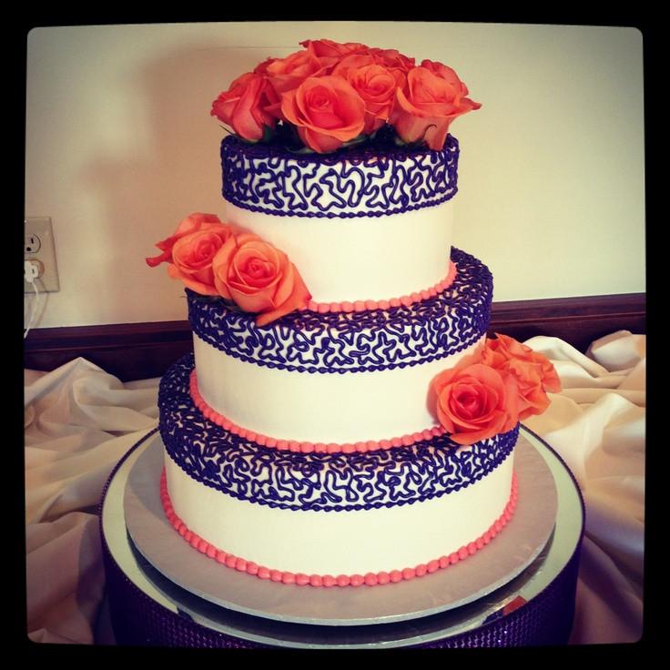 Purple And Orange Wedding Cakes  Purple and Orange wedding cake Wedding Ideas