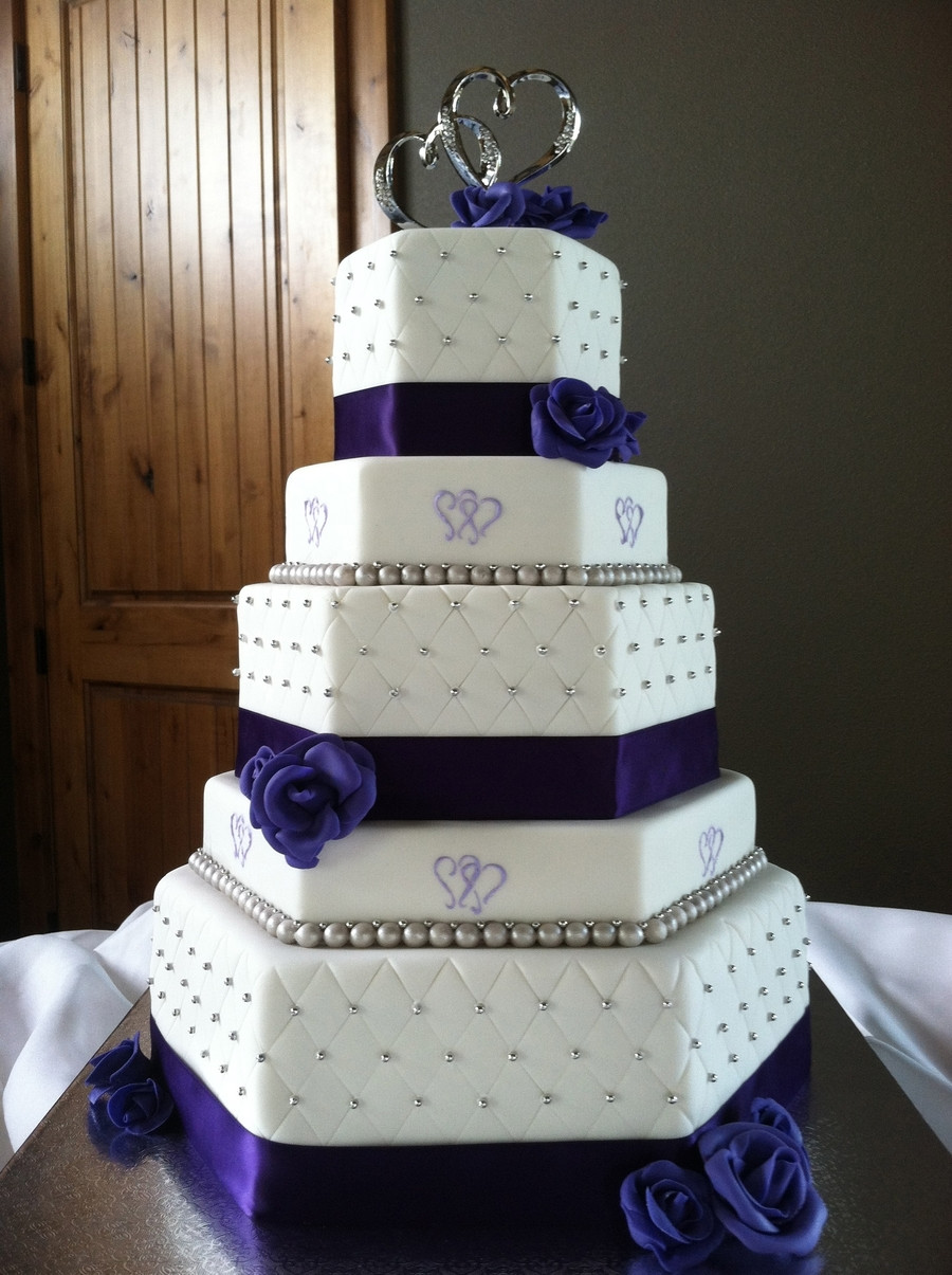 Purple And Silver Wedding Cakes  Two Hearts Themed Purple And Silver Hexagon Wedding Cake