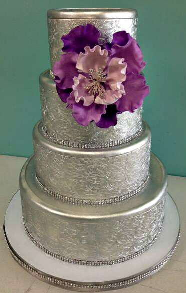 Purple And Silver Wedding Cakes  Wedding Cakes Fluffy Thoughts Cakes