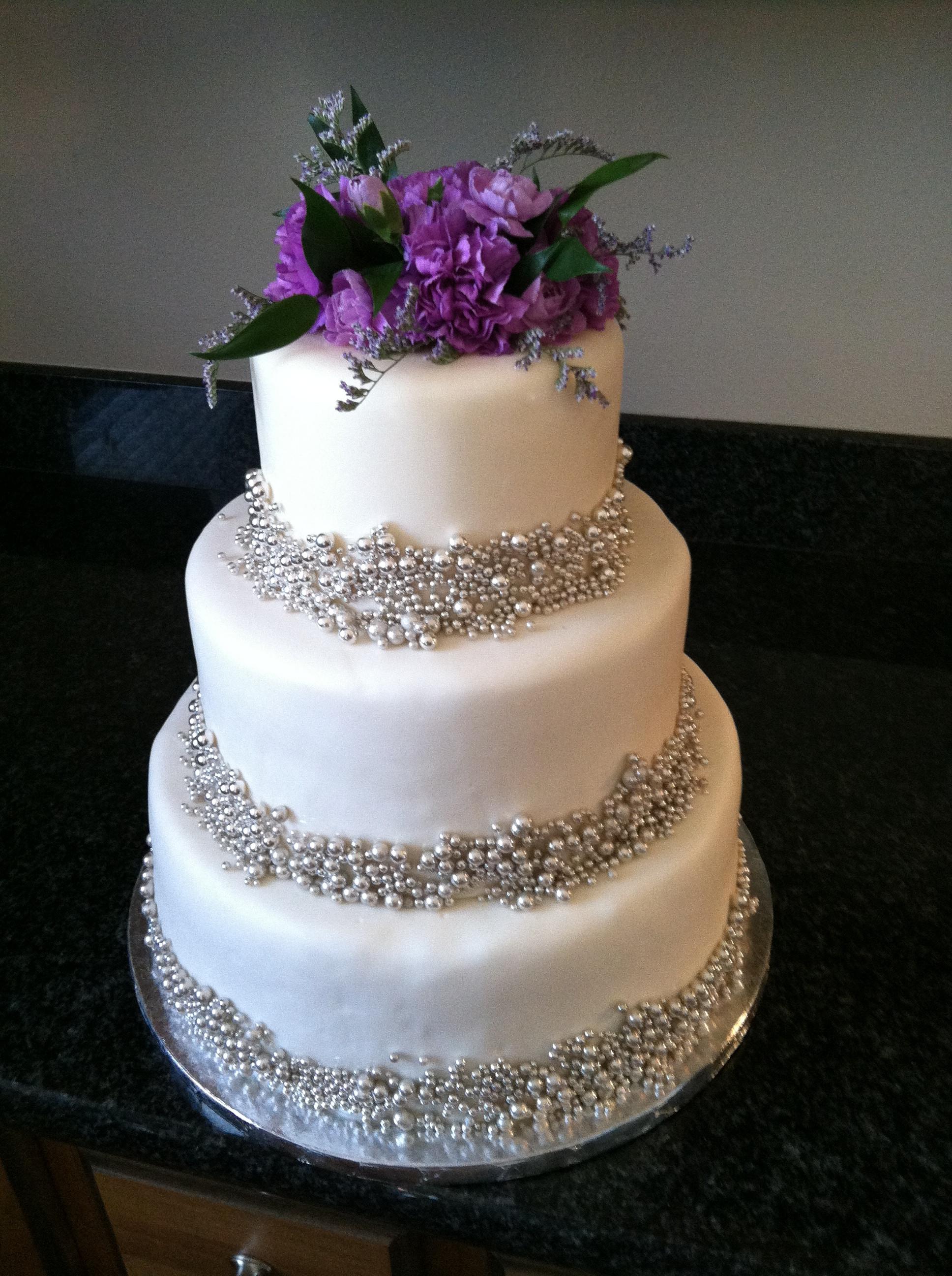 Purple And Silver Wedding Cakes  Purple silver wedding cake idea in 2017