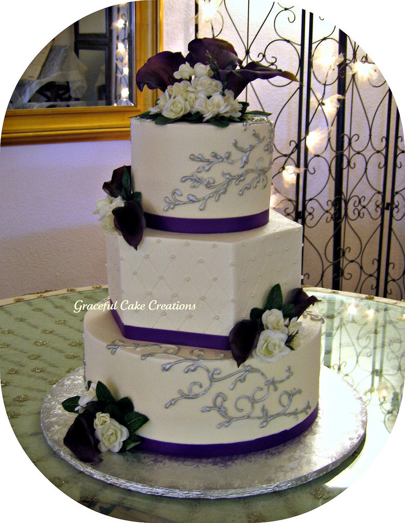 Purple And Silver Wedding Cakes  Ivory Purple and Silver Wedding Cake a photo on Flickriver
