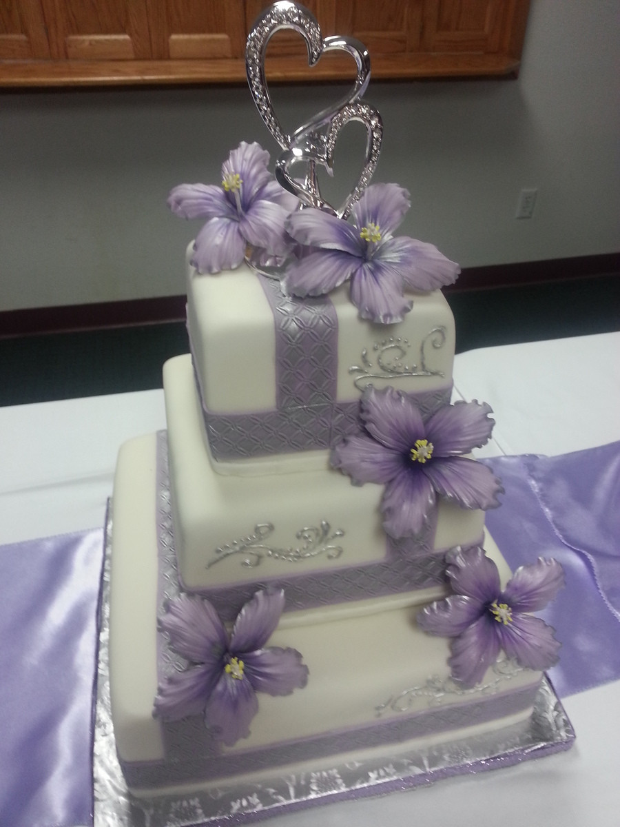 Purple And Silver Wedding Cakes  Lavender And Silver Wedding Cake With Sugar Hibiscus