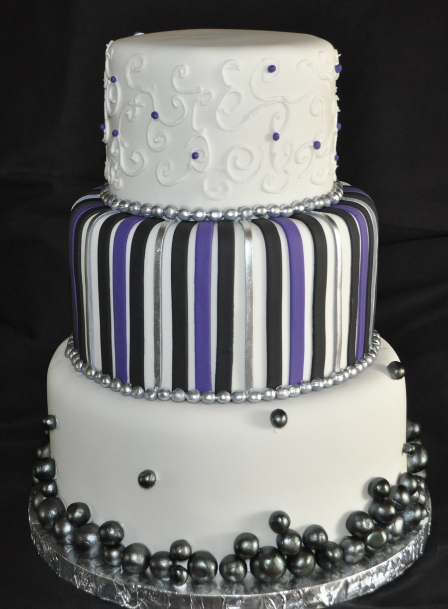 Purple And Silver Wedding Cakes  Purple Black And Silver Wedding Cake CakeCentral