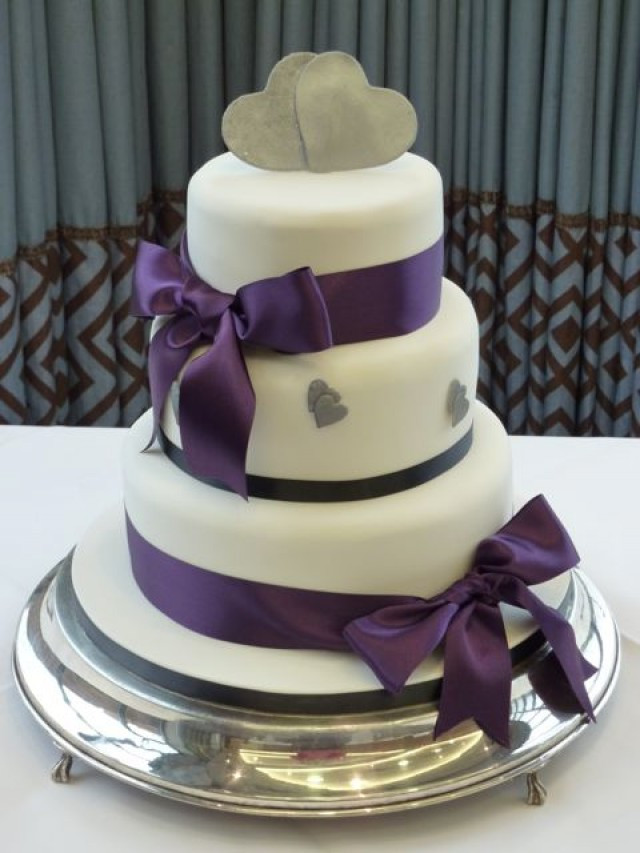 Purple And Silver Wedding Cakes  Purple bows and silver hearts wedding cake