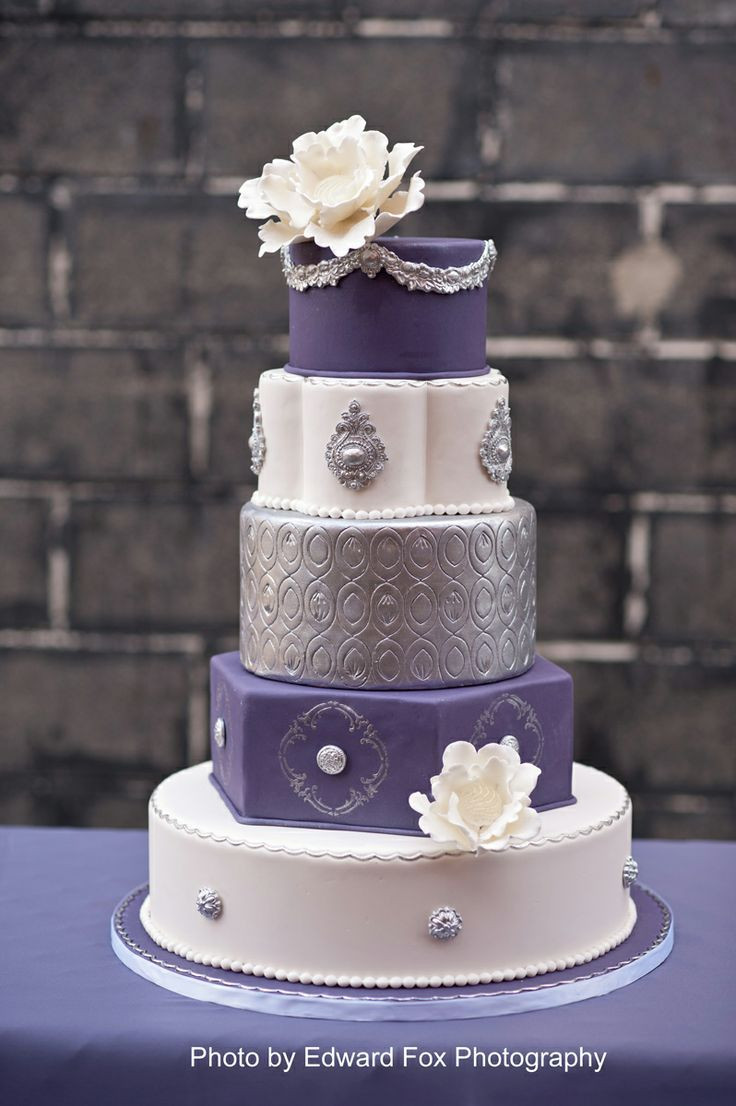 Purple And Silver Wedding Cakes  20 best images about Purple & Silver on Pinterest