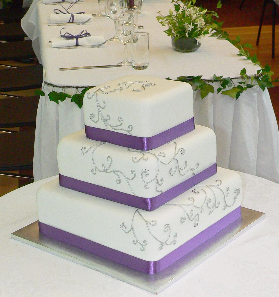 Purple And Silver Wedding Cakes  Purple and Silver Wedding Cake WishUponACake