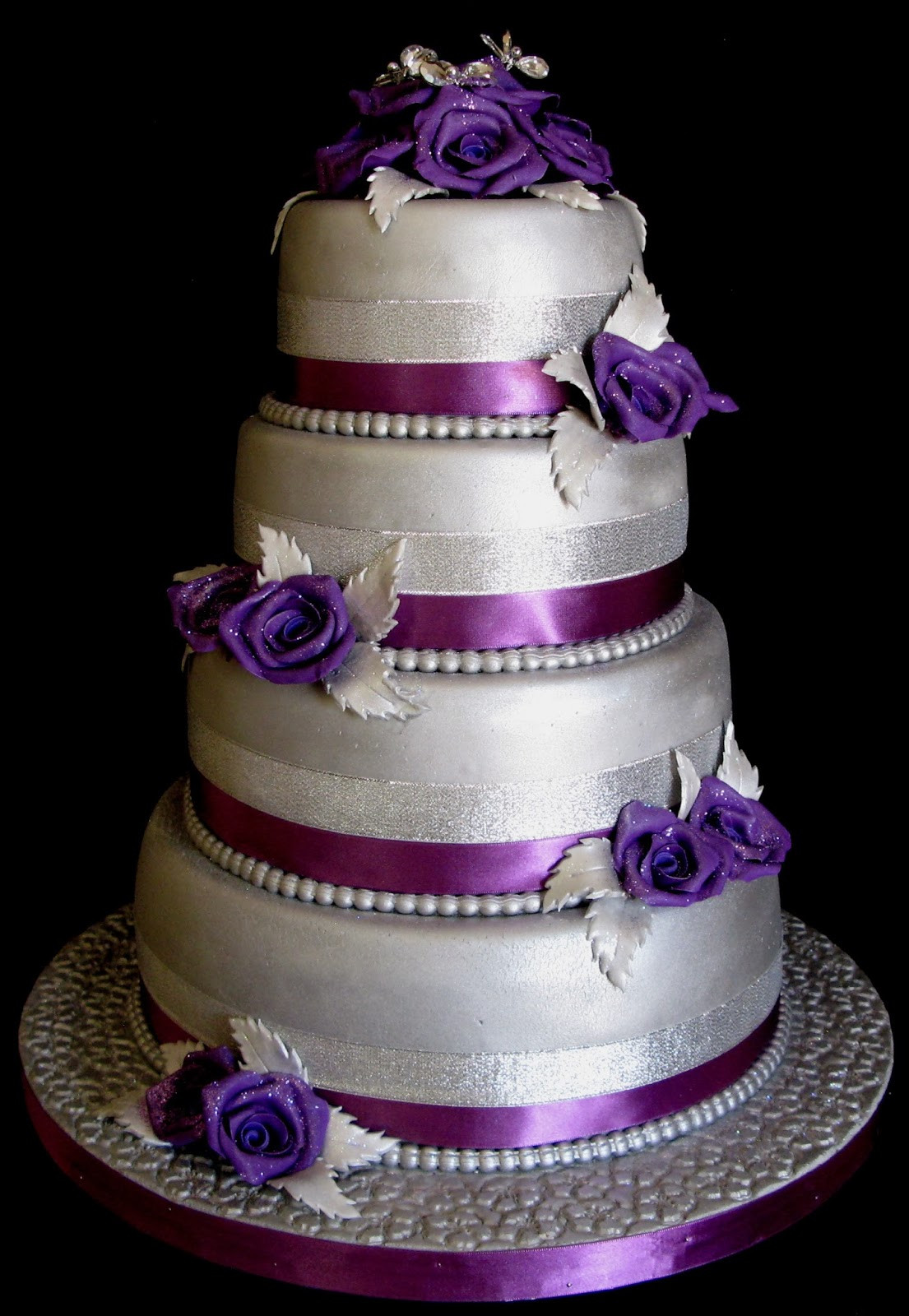 Purple And Silver Wedding Cakes  Sugarcraft by Soni Four Layer Wedding Cake Purple Roses