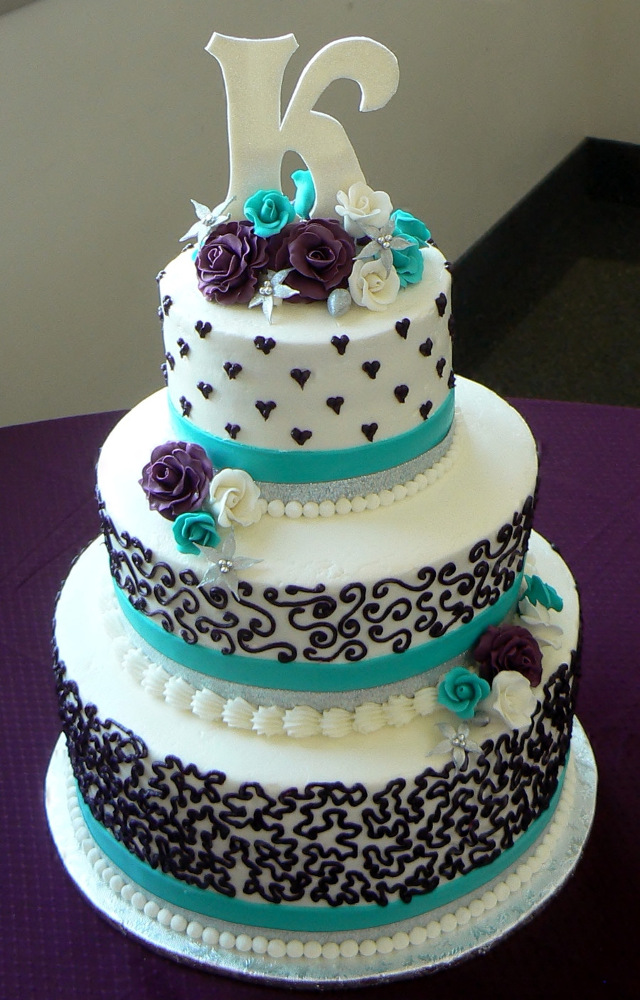 Purple And Teal Wedding Cakes  Aqua And Purple Wedding Cake CakeCentral