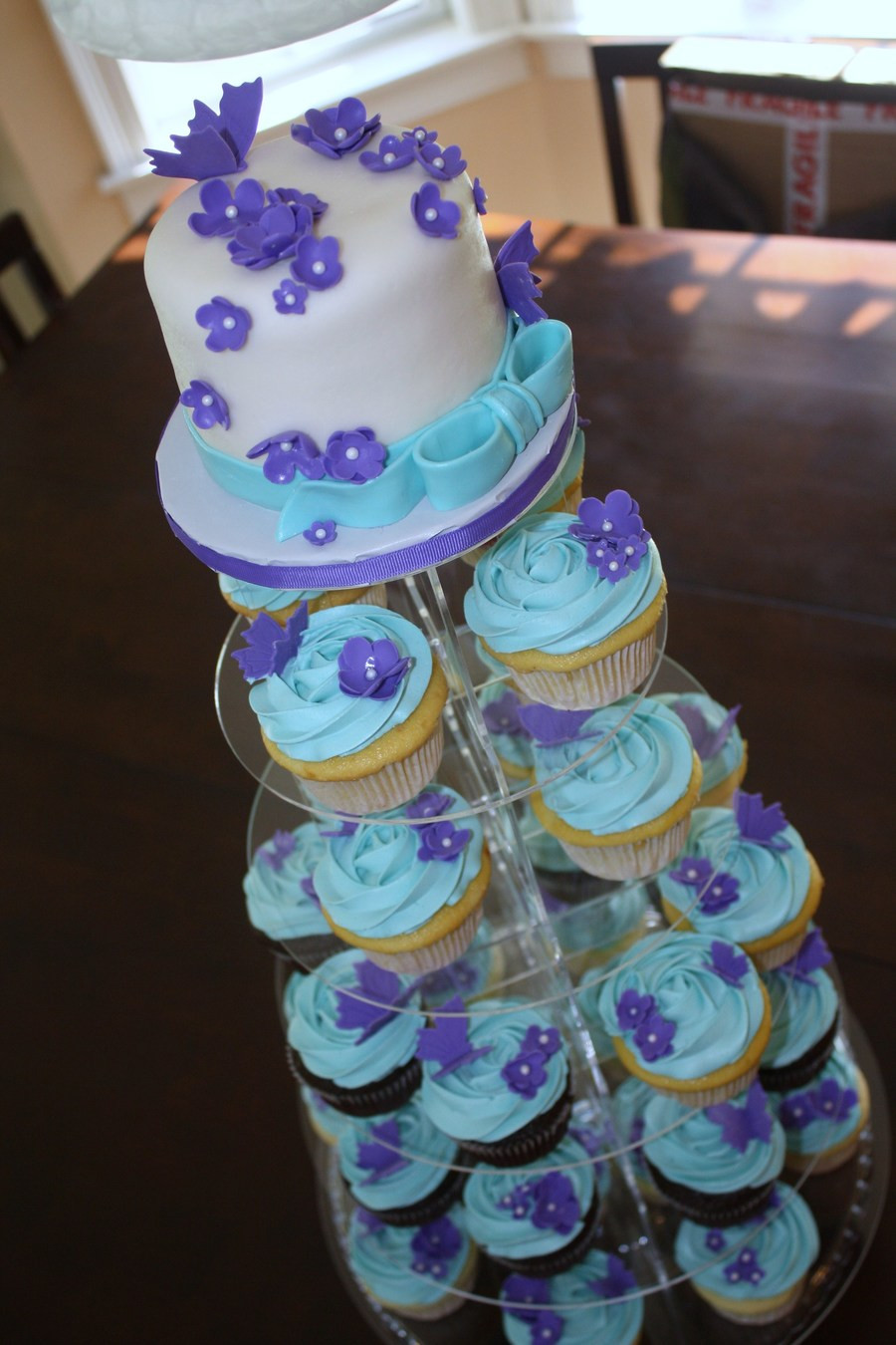 Purple And Teal Wedding Cakes  Purple And Teal Cupcake Tower CakeCentral