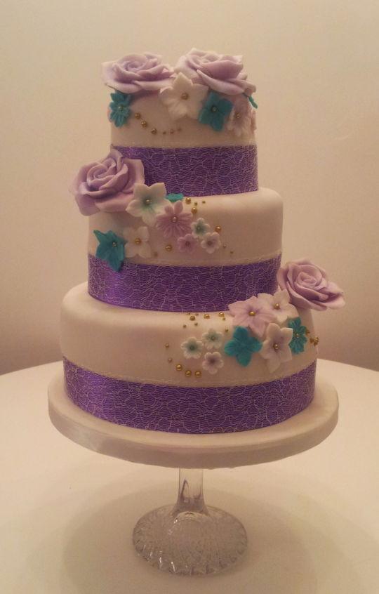 Purple And Teal Wedding Cakes  Purple & Teal Wedding cake Cake by Sarah Poole CakesDecor