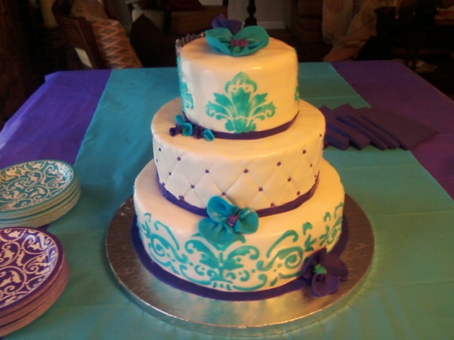Purple And Teal Wedding Cakes  Purple And Teal Cake CakeCentral