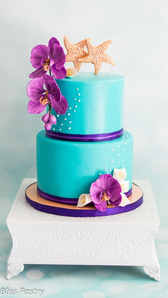 Purple And Teal Wedding Cakes  Teal and purple wedding cake Cake by Bliss Pastry
