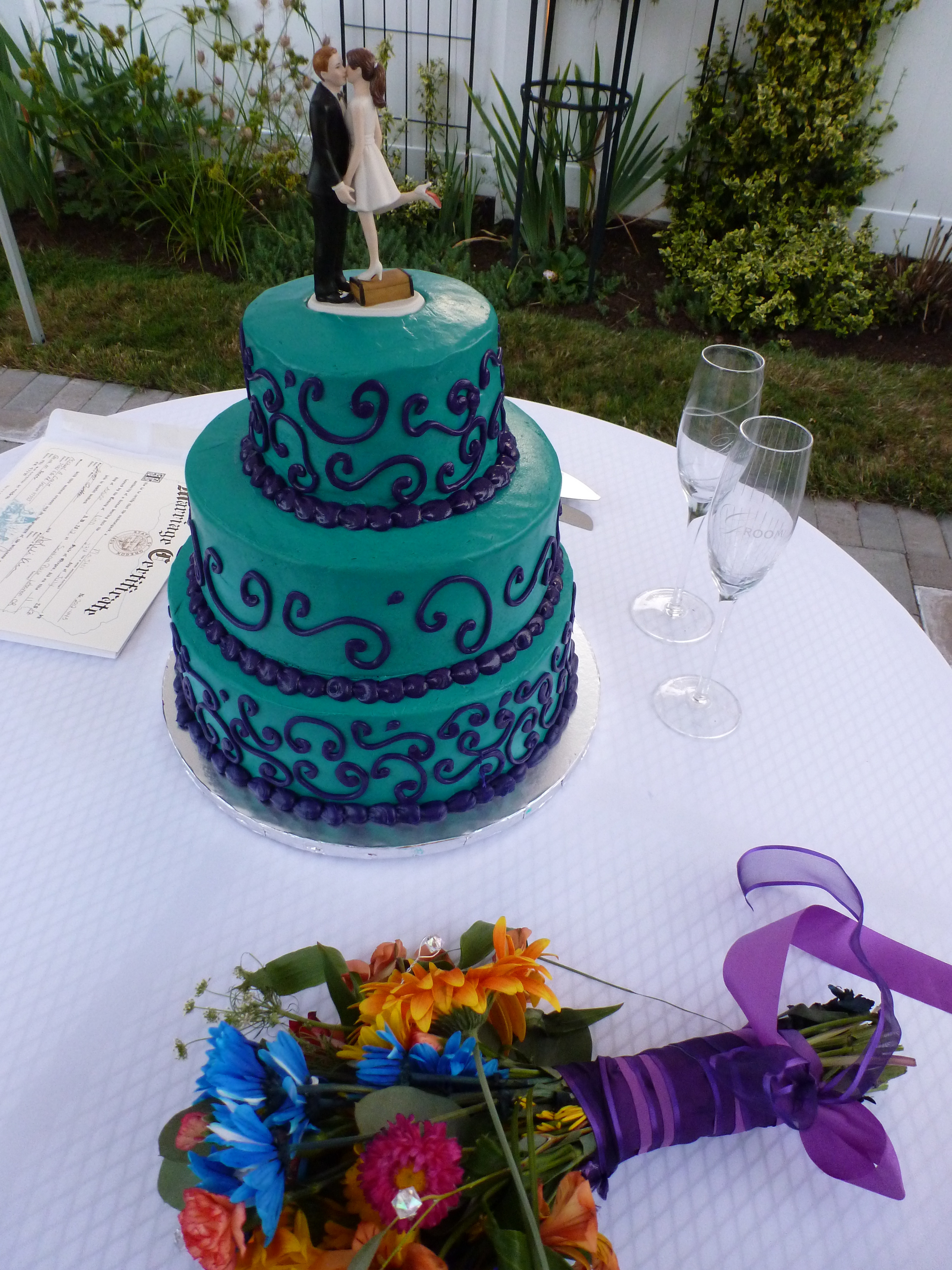 Purple And Teal Wedding Cakes  Featured weddings Santiam Place s Blog