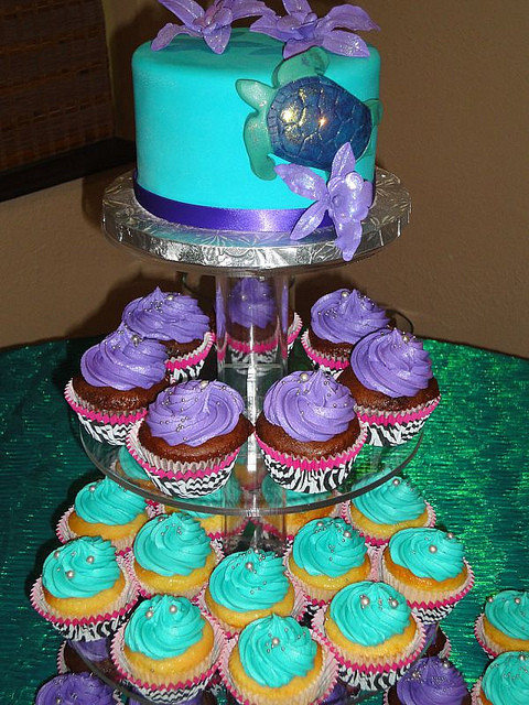Purple And Teal Wedding Cakes  Teal and Purple Zoo Wedding Cake and Cupcake Tower