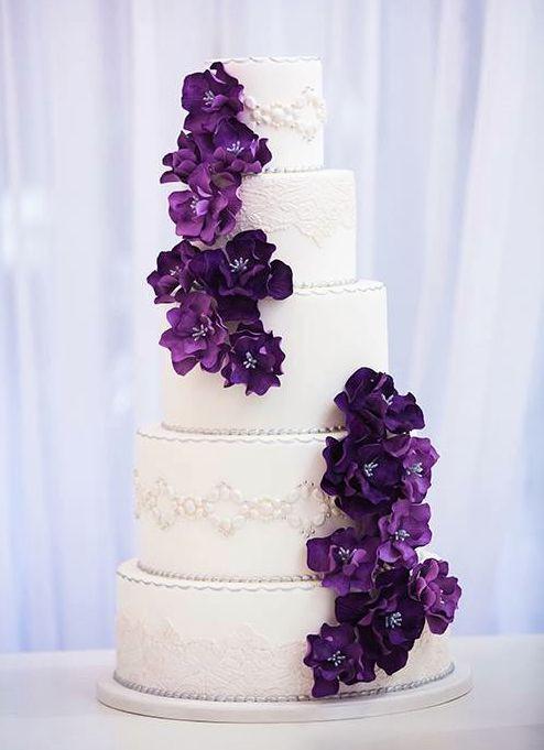 Purple And White Wedding Cake  45 Plum Purple Wedding Color Ideas