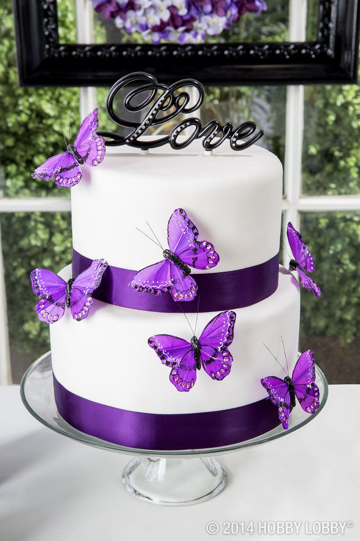 Purple And White Wedding Cakes  Love Cake Topper