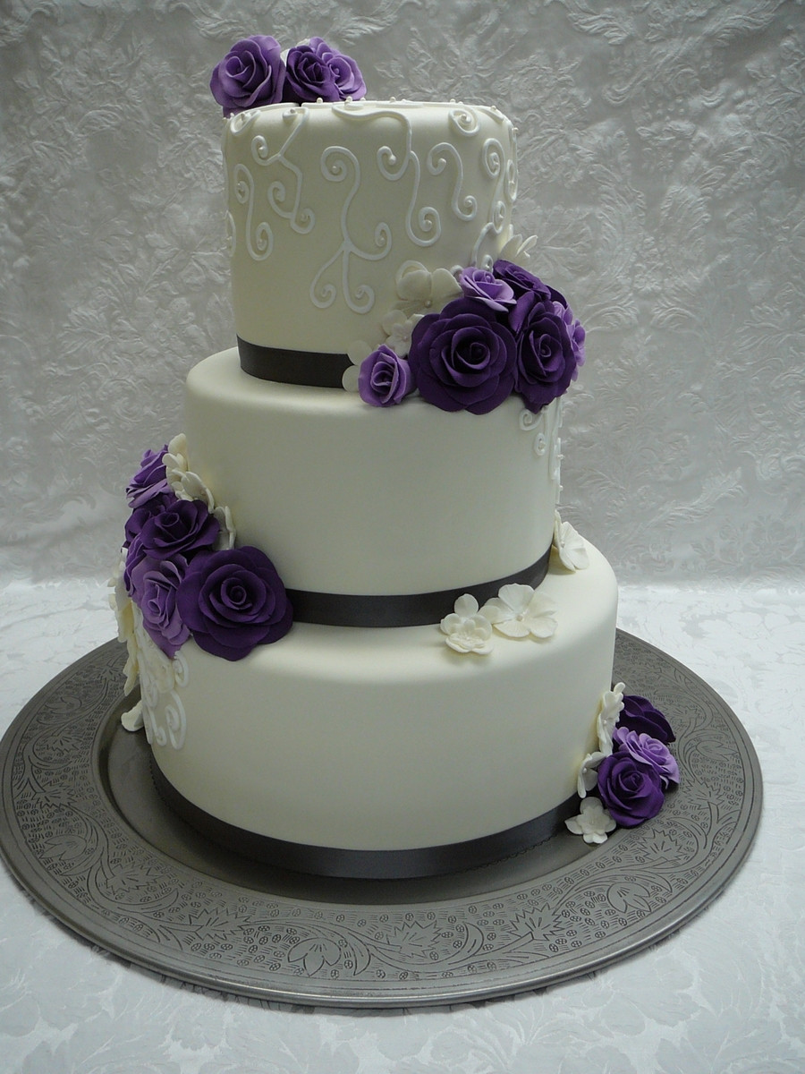 Purple And White Wedding Cakes  Purple Roses Wedding Cake CakeCentral
