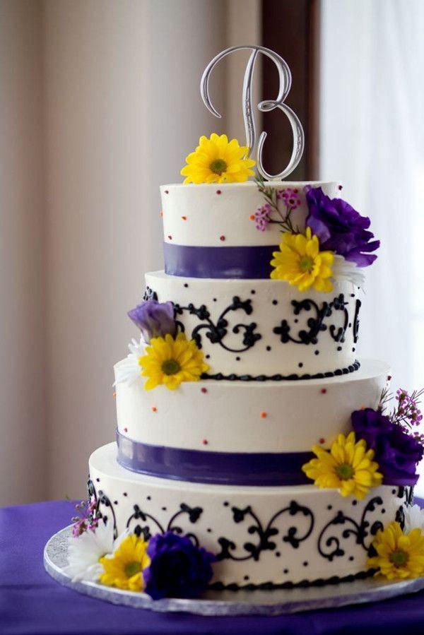 Purple And Yellow Wedding Cake  Gelb Blau und Lila Hochzeit Ideen – 2014 Hochzeitsfarben