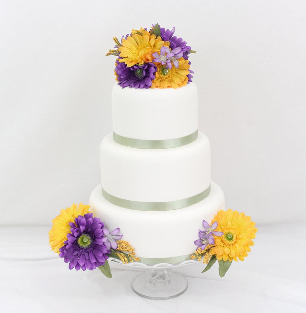 Purple And Yellow Wedding Cake  Wedding Cake Topper Purple Yellow Gerbera Daisy Silk Flower